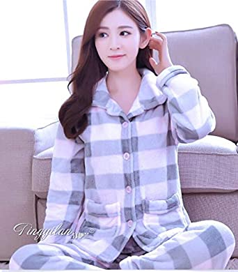 3df2a35a4ba HITSAN Lady Flannel Pajamas Women Winter Warm Coral Fleece Sleepwear Women s  Long Sleeve Nightgwear Women Leisure Homewear D-2101 Style9 Size XL   Amazon.in  ...
