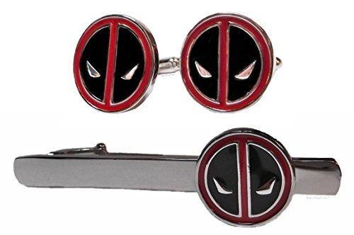 Marvel Comics DEADPOOL Logo Metal/Enamel TIE CLIP & CUFFLINKS SET