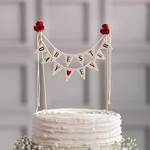 Autude Best Day Ever Cake Bunting Topper