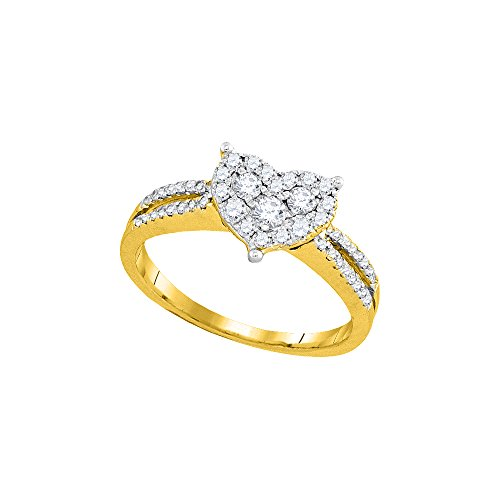 Jewels By Lux 14kt Yellow Gold Womens Round Diamond Heart Cluster Split-shank Ring 1/2 Cttw (I2-I3 clarity; J-K - Yellow 14kt Gold Setting Shank