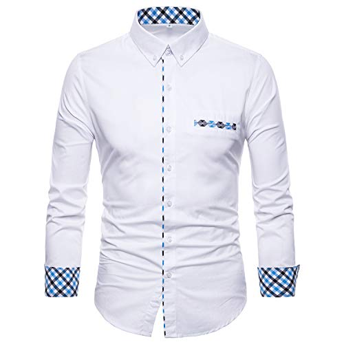 Inner Cuff - Manwan walk Mens Button Down Dress Shirts Premium Casual Inner Contrast Casual Slim Fit Shirt