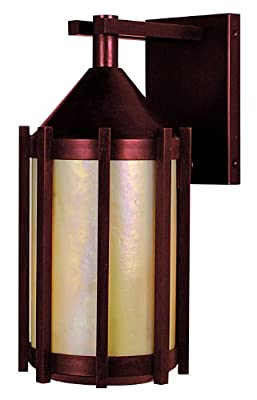 Arroyo Craftsman IB-5-RC-GW Inveraray Collection 1-Light Exterior Wall Lantern, Raw Copper Finish with Gold White Iridescent Glass