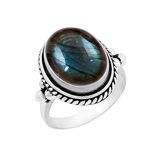 - Genuine Large Oval Shape Labradorite Solitaire Ring 925 Silver Plated Vintage Style Handmade for Women Girls (Size-10)