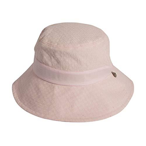 (Women's 100% Cotton Elegant Bucket Hat Charm Summer Beach Visor Hat Pink Print Fisherman Cap Panama Hats)