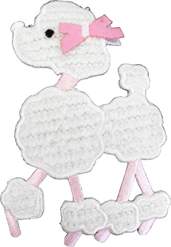 Pink & White FURRY Poodle - Sew On Patch