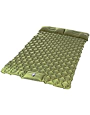 Kuzmaly Double Camping Sleeping Pad with Pillow Inflatable Backpacking Bed Portable Camping,Car,Tent Mattress 2 Person mat Waterproof Camping Pad Mattress