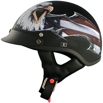 VCAN V531 Cruiser Patriotic Eagle Graphics Half Helmet (Flat Black, Small)