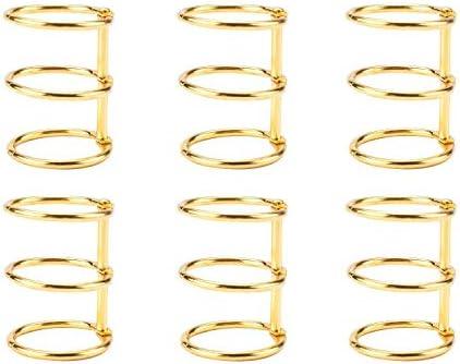 6個入り ルーズリーフブックリング バインダーリング システム手帳リング 単語帳 自作レシピ 学習カードメニュー ゴールド