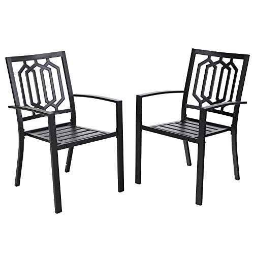 MF STUDIO Outdoor Chairs Set of 2, Iron Metal Dining 300 LBS Weight Capacity Patio Bistro Chairs with Armrest,Black