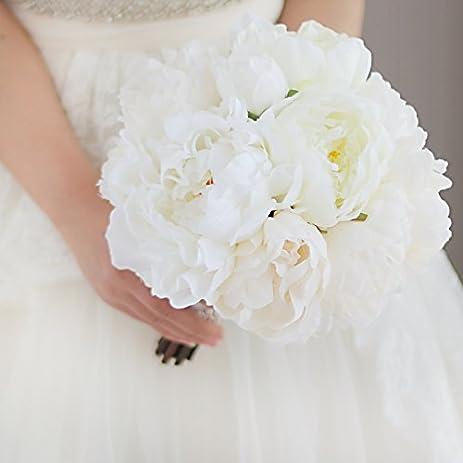 Amazon.com: IFFO white peony bride wedding bouquet artificial flower ...