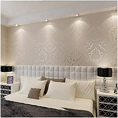 QIHANG European Vintage Luxury Damask Wall Paper PVC Embossed Textured Wallpaper Roll Home Decoration Cream-white Color wallpaper 0.53m10m=5.3?