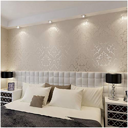 QIHANG European Vintage Luxury Damask Wall Paper PVC Embossed Textured Wallpaper Roll Home Decoration Cream-White Color Wallpaper 0.53m10m=5.3㎡ ()