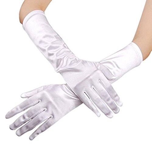 "RUNHENG Women's Evening Party 15"" Long Sillky Satin Finger GlovesWhite"