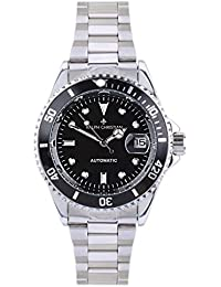Men's Automatic Watch Munich Stainless Steel Wristwatch Black Dial with Date Magnifier Waterproof Self-Winding