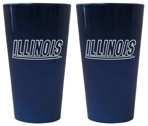 (Illinois Fighting Illini Lusterware Pint Glass Set by Boelter Brands)
