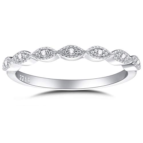 - espere Milgrain Marquise Cubic Zirconia Eternity Ring Stacking Infinity Wedding Band Sterling Silver Platium Plated Size 7