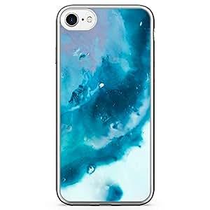 iPhone 8 Transparent Edge Phone case Blue Marble Phone Case Blue Water iPhone 8 Cover with Transparent Bumper