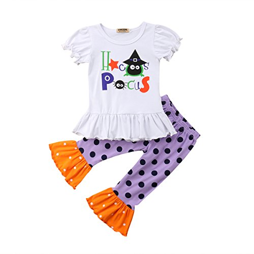 Baby Girls Halloween Costumes Outfits Infant Witch Spider Print T-Shirt+Polka Dot Ruffle Pants Set (Spider Outfit Witch)