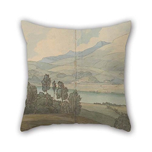 The Oil Painting Francis Towne - View Of Lake Coniston, Lancashire Pillow Shams Of 16 X 16 Inches / 40 By 40 Cm Decoration Gift For Car Dance Room Boy Friend Car Car Seat Family (twin Sides)