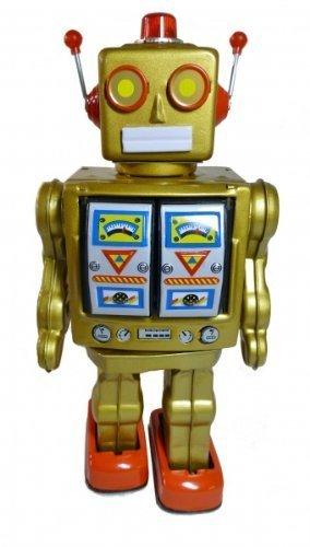 Roboter Electron aus Blech batteriebetrieben gold, MG, Blechspielzeug
