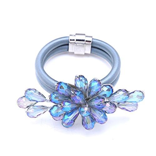 Aurora Borealis Shimmers (Dianne Laurent Shimmer Floral Crystal Flower Wing Corded Magnetic Clasp Statement Bracelet (Denim Blue))