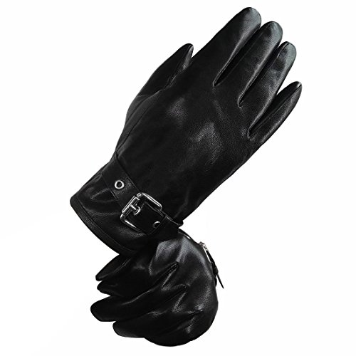 Genuine Mens Fleece - LETHMIK Mens Touchscreen Winter Genuine Leather Gloves Driving Outdoor Fleece Lining Black-L