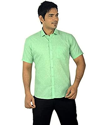 Paul Wilson Light Green Cotton Linen Blend Half Slevees Formal ...