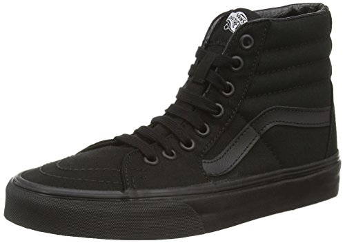 Vans Unisex Sk8-Hi Black Canvas Skate Shoe - Tops Vans Hi