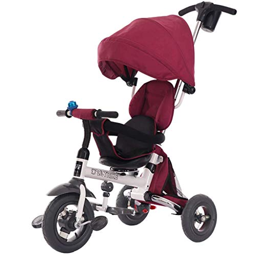 Children's Tricycle Carts Collapsible Lightweight Stroller for 1-5 Years Old (Color : RED)