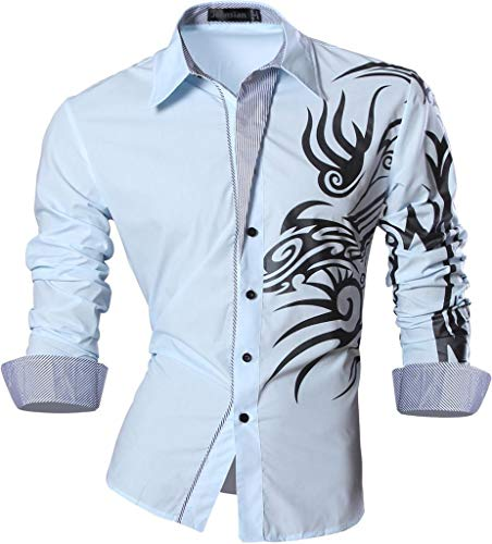 Long Causal Jeansian Slim Camicie Uomo Men lightblue Shirts Fashion Z001 Lunghe Sleves Moda Maniche 2028 Fit aavzr0