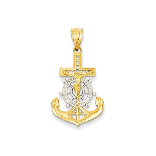 ICE CARATS 14kt Yellow Gold Nautical Anchor Ship Wheel Mariners Cross Religious Pendant Charm Necklace Mariner Fine Jewelry Ideal Gifts For Women Gift Set From Heart (New 14kt Yellow Gold Cross)