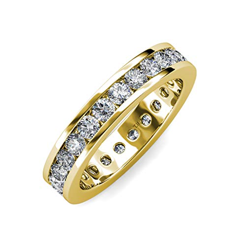 trijewels Diamond 3mm Channel Set Womens Eternity Band 1.71 ctw to 2.07 ctw 14K Yellow Gold.Size 7.75 ()