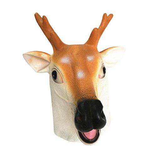 BESTOYARD Head Mask Latex Rubber Sika Deer Head Mask Prank Prop Halloween Costume -