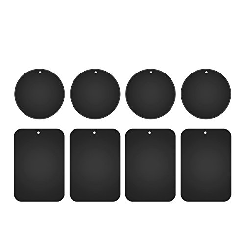 Metal Plates for Magnetic Car Mount,Nekteck Replacement Metal Plates with Strong Adhesive for Magnetic Air Vent Phone Car Mount Holder,GPS Holder, 4 Rectangulars and 4 Rounds, 8 Pack, Black ()