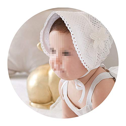 Baby Girls Princess Lace Lovely Hat Hollow Out Cotton Bonnet Infant Flower Bucket Cap Baby Summer Sun Beanie Hat,White