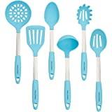 Culinary Couture Stainless Steel and Silicone Cooking Utensil Set with Ebook - Aqua Sky