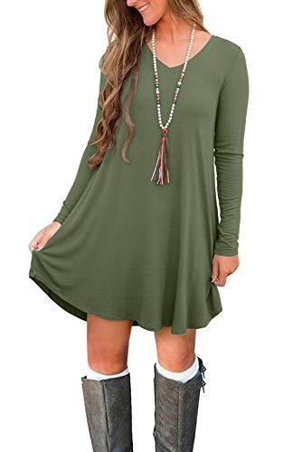 b194b842dda3 MOLERANI Women's Long Sleeve Casual Plain Simple Pocket T-Shirt Loose Dress