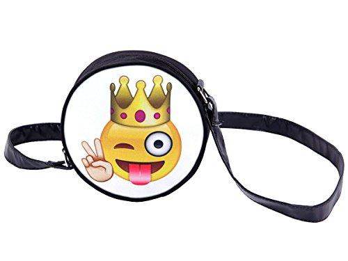 Alsino Rundtasche Smiley Muster Umhängetasche Handtasche Schultertasche Abendtasche Outdoor Tasche HT-031 Emoticon King