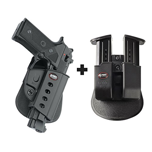 Fobus Elite Paddle (Fobus BRV Paddle Concealed Carry Holster Beretta Vertec & Elite .40cal, 92A1, 96A1, 92FS, 92FS Compact, M9A3 + 6909 ND Double Magazine Pouch)