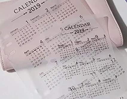 (A6/Personal Size) 2019 Calendar Planner Dashboard Clear Sheet PVC Dividers for Use with 6 Ring Organizers Agenda Journals