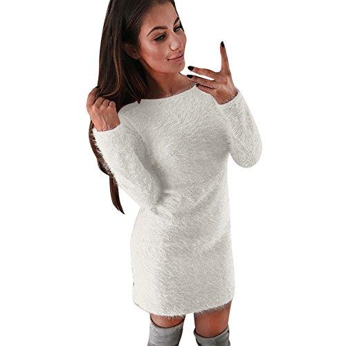 Vestido largo básico de manga larga de lana de invierno de manga larga de invierno cálido de las mujeres Blanco