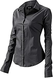 INFLATION Women's Dress Shirts Long Sleeve Slim Fit Cotton Casual Shirt Blouses for Women - Grey - 6