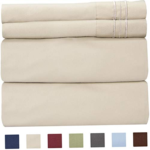 Mikash Queen Size Sheet Set - 4 Piece Set - Hotel Luxury Bed Sheets - Extra Soft - Deep Pockets - Breathable & Cooling - Comfy - Beige Tan Bed Sheets - Queens Sheets - 4 PC | Model SHTST - 28 (Dvala Sheet Set Queen)