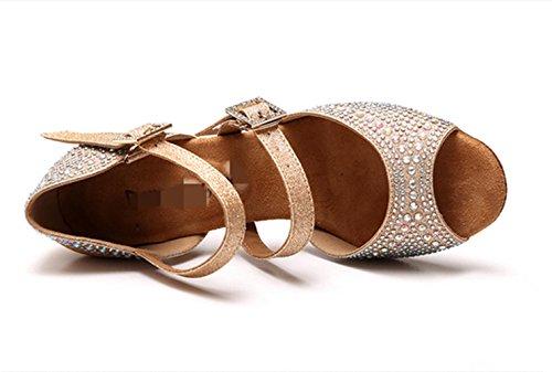 zapatos de tacón alto femeninos bailan / América zapatos de entrenamiento de baile / brillante