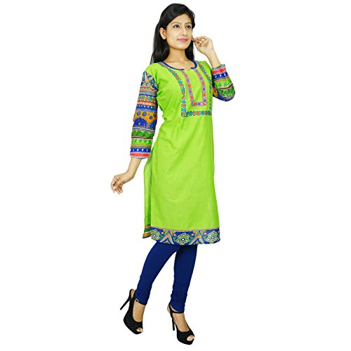 Impreso étnica Kurti diseñador indio de Bollywood Casual Top túnica de regalo para ella Mujeres Verde y azul
