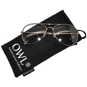 Aviator Clear Lens Gold Metal Sunglasses Men's Women's Non-Prescription OWL
