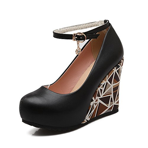 Black Buckle Toe Shoes Heels PU Round Women's Solid High Closed Pumps WeiPoot Pp7qTaW