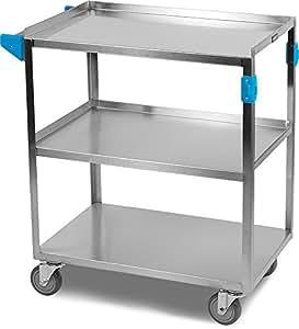 "Carlisle UC3031827 Stainless Steel 18-8 Utility Cart, 300-lb. Capacity, 34"" x 18"" x 27"", 3 Shelf"