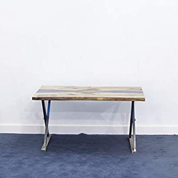Mesa rectangular de centro de madera natural de pino y resina ...