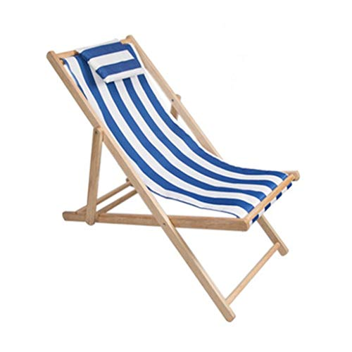 YANFEI Zero Gravity Chair, Beach Chair Folding Solid Wood Oxford Canvas Chair Portable Lunch Break Wooden Lounge Chair 1306522cm, Nine Colors (Color : Blue and White)